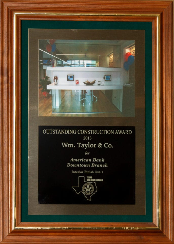 Wm. Taylor & Co. General Contractors - Outstanding Construction Award 2013